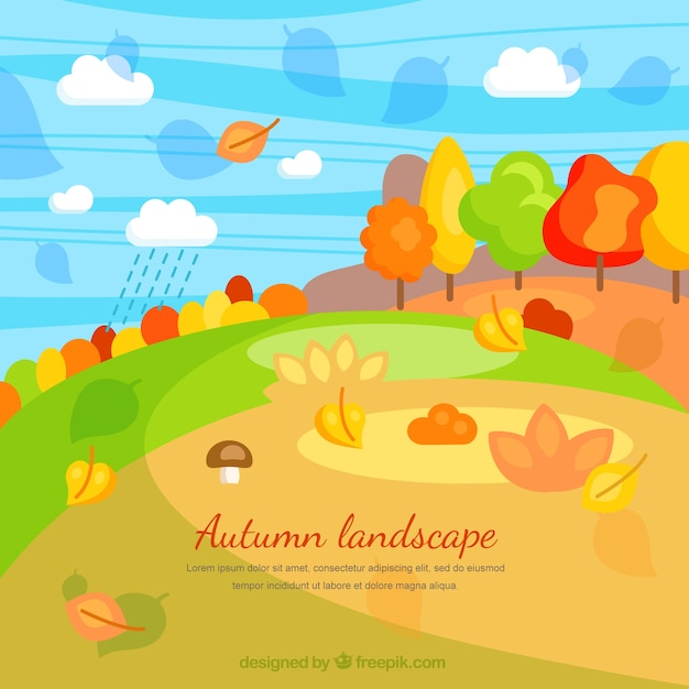 Autumn landscape in cartoon style