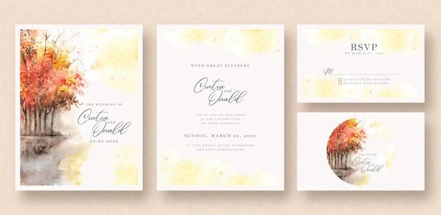 Autumn landscape wedding invitation watercolor Premium Vector