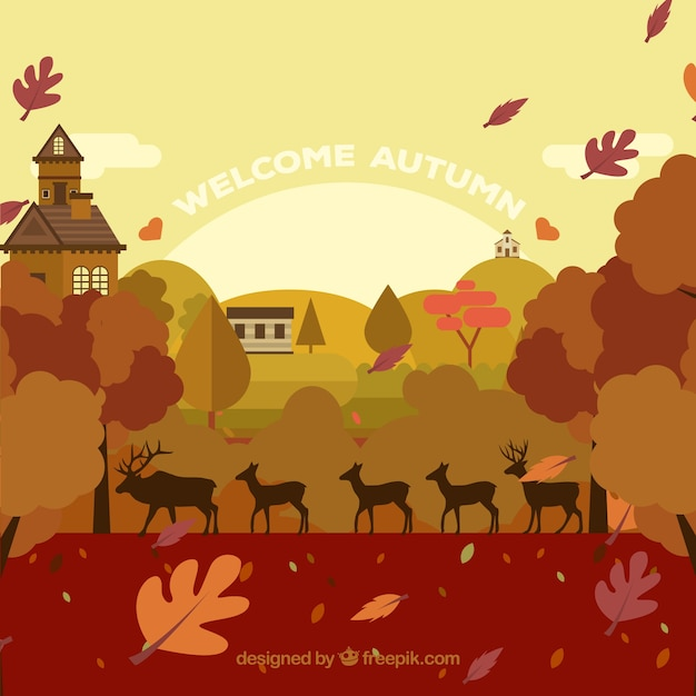 Autumn landscape with deers