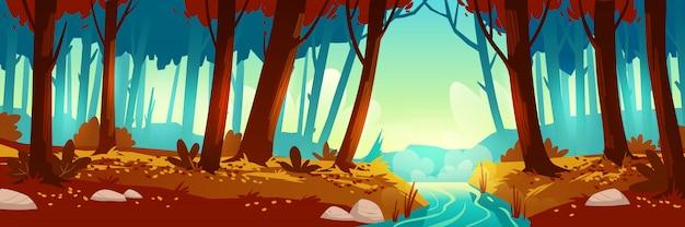 森と川のある秋の風景 無料ベクター