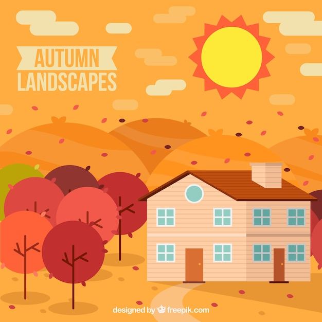 Autumn landscape with house and trees