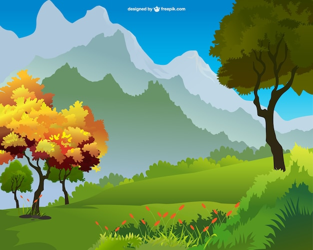 Autumn landscape with mountains Free Vector