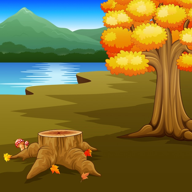 Autumn landscape with rivers and mountain Premium Vector