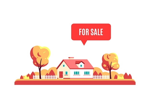 Autumn landscape with trees, country house and sign for sale isolated on white background. Premium Vector