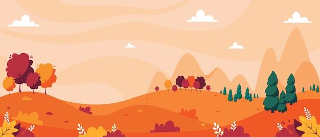 Осенний пейзаж с деревьями, горами, полями, листьями. сельский пейзаж. Premium векторы