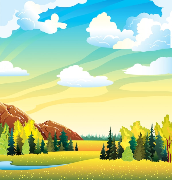 Autumn landscape with yellow meadow Premium Vector