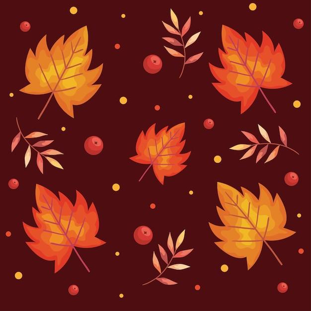 紅葉植物と枝の葉のパターン図 Premiumベクター