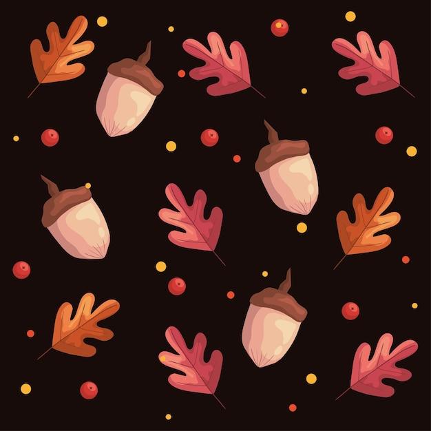 紅葉植物の葉とナッツのパターン図 Premiumベクター