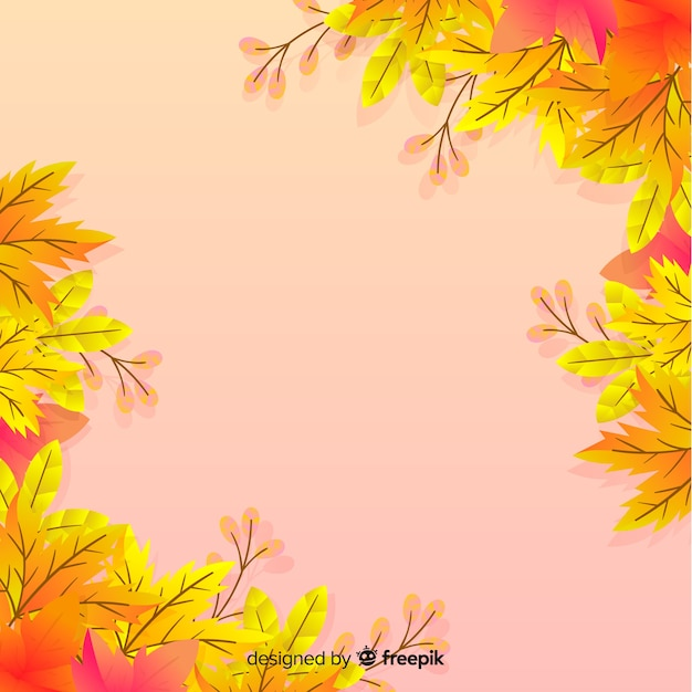 Autumn leaves background flat style Free Vector