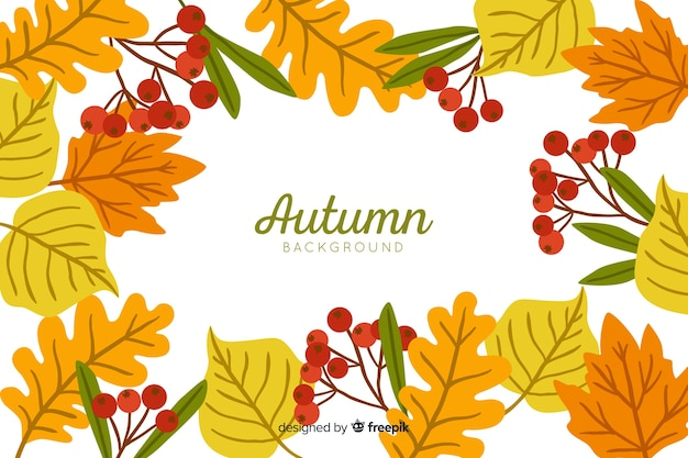 Autumn leaves background hand drawn style Free Vector