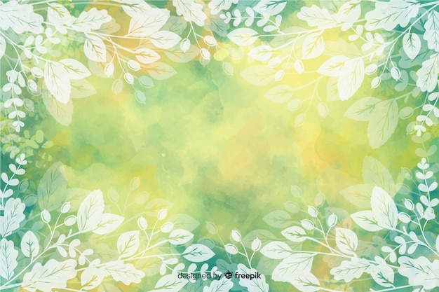 Autumn leaves background watercolor design Free Vector