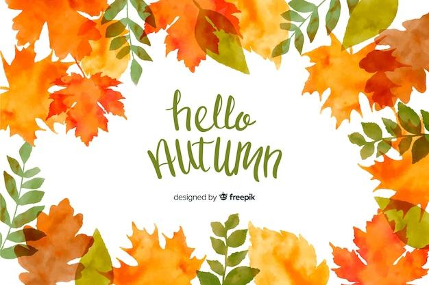 秋の葉の水彩画の背景 Premiumベクター