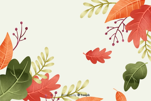 Autumn leaves background watercolor style Free Vector