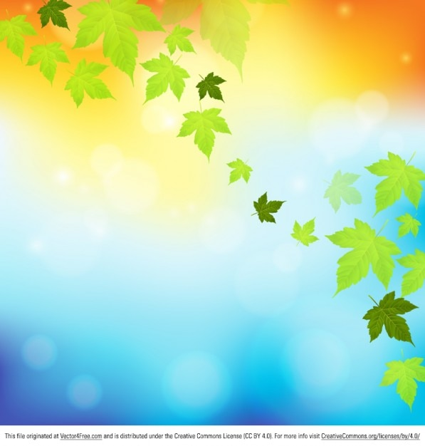 Autumn leaves falling nature background