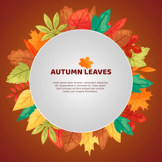 Autumn leaves frame template Premium Vector
