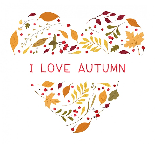 Autumn leaves heart shaped flat vector frame. Free Vector