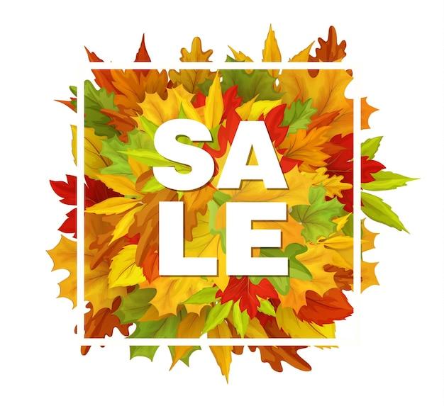 흰색 사각형 프레임, 메이플 오크, 가을 배너, 포스터, 현수막 템플릿 디자인의 단풍. 프리미엄 벡터