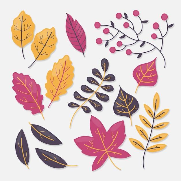 Пакет осенних листьев Бесплатные векторы