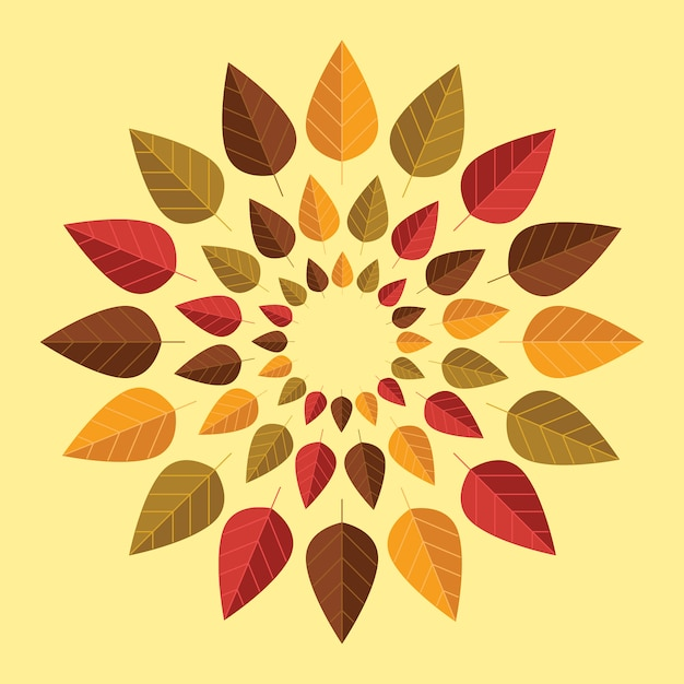 Autumn leaves rounded composition Premium Vector