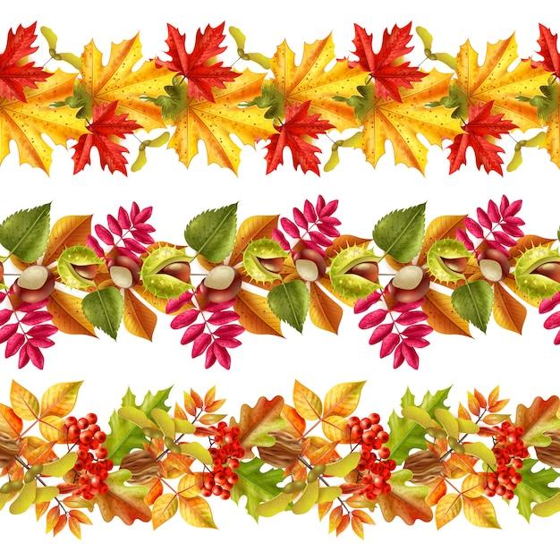 Осенние листья бесшовные границы Бесплатные векторы