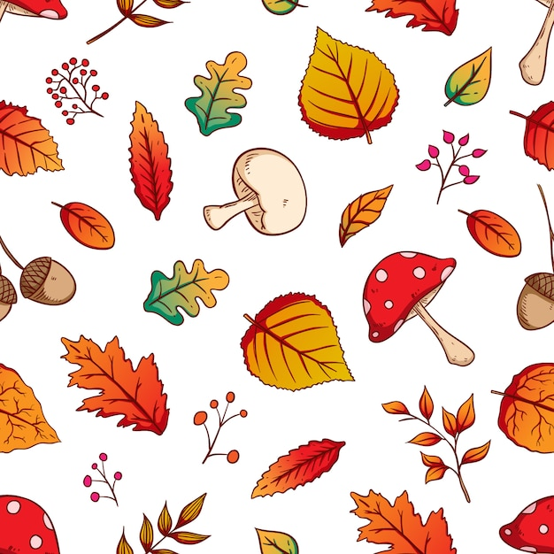 Autumn leaves seamless pattern with colorful hand drawn style on white background Premium Vector