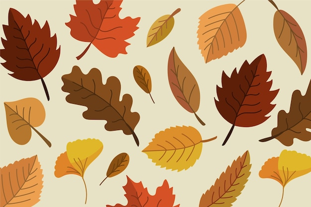 Autumn leaves wallpaper concept Free Vector