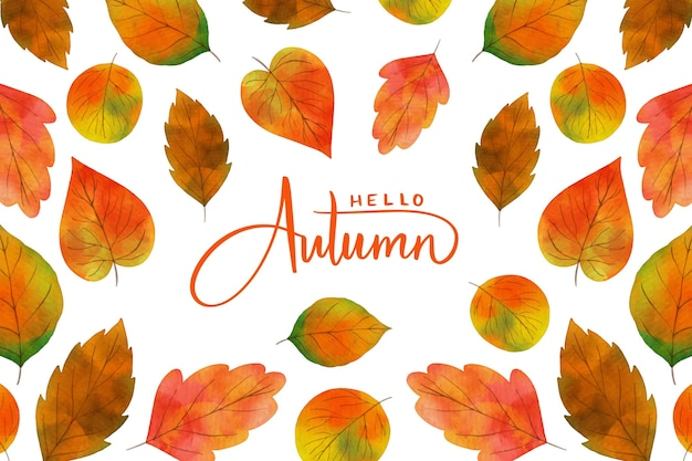 Autumn leaves watercolor background Free Vector