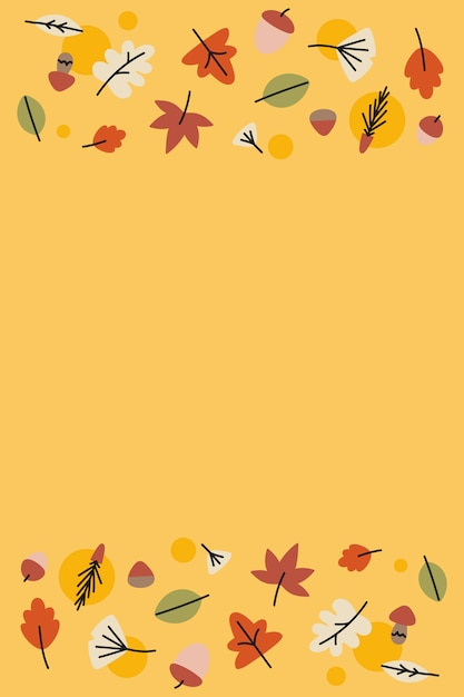 Autumn leaves on yellow Free Vector