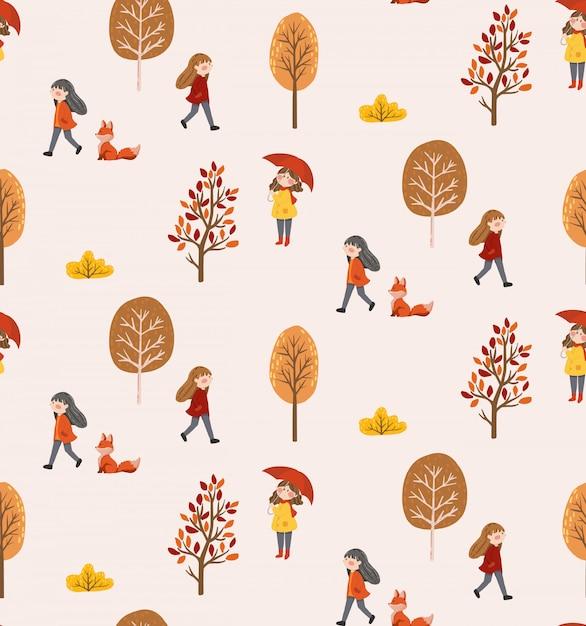 Autumn life seamless pattern Premium Vector