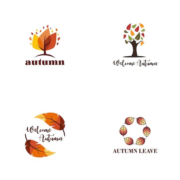 Autumn logo collection Premium Vector
