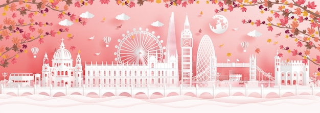 Autumn in london, england with falling maple leaves and world famous landmarks Premium Vector