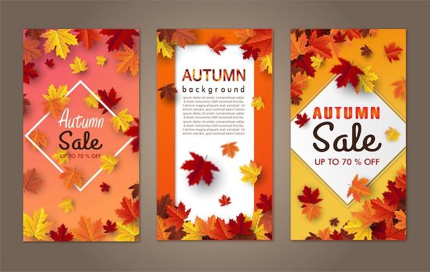 Осенний кленовый лист фон баннера Premium векторы
