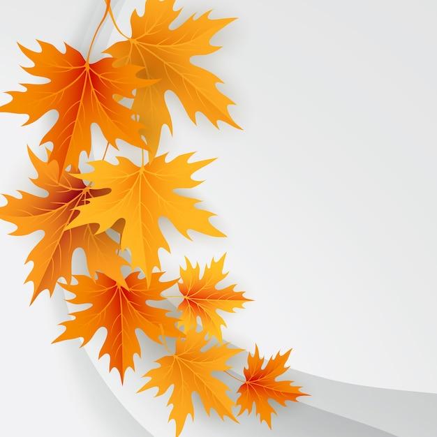 가을 단풍 떨어지는 나뭇잎 배경. 프리미엄 벡터