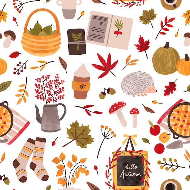 Осеннее настроение рисованной бесшовные модели. осенний сезон придает текстуру. традиционные осенние символы декоративный фон. листва, растения, еда, теплая одежда и иллюстрация ежа. Premium векторы