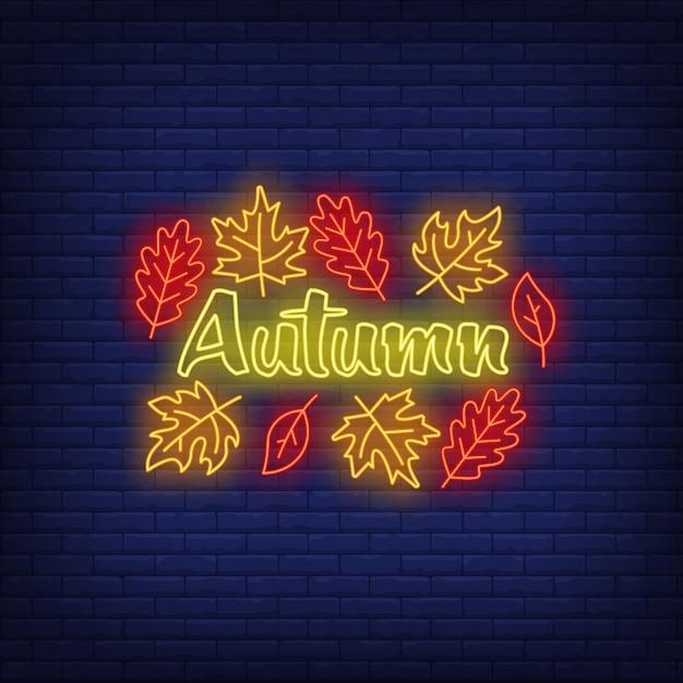 Autumn neon sign Free Vector