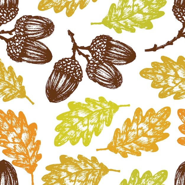 Autumn oak leaves and acorns pattern Free Vector