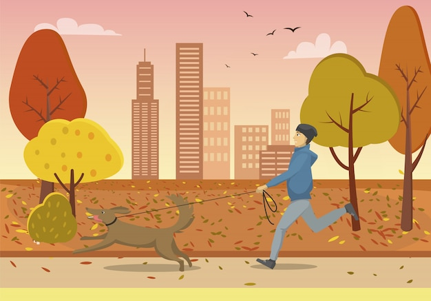 Autumn park and guy running with dog on leash Premium Vector