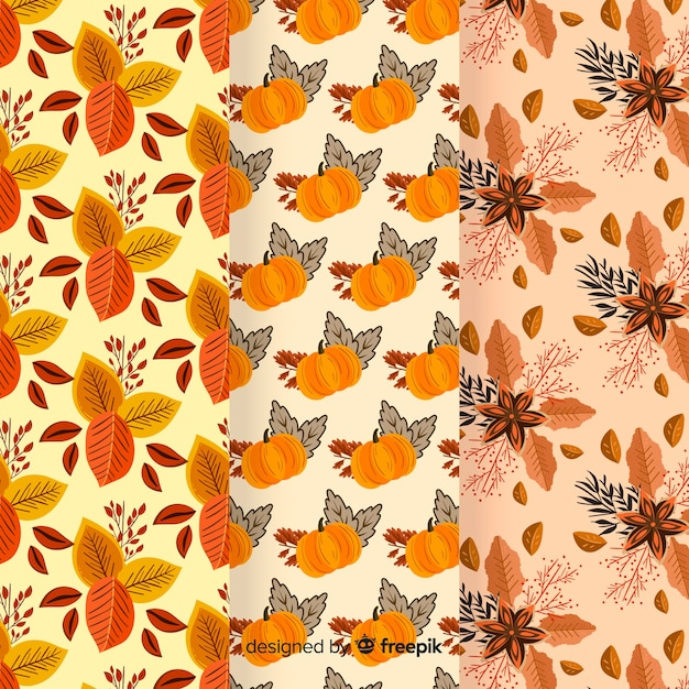 Autumn pattern collection flat design Free Vector