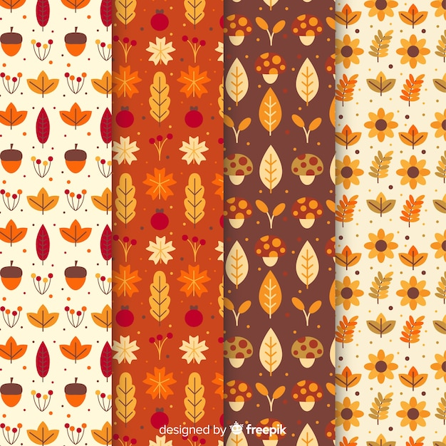 Autumn pattern collection flat style Free Vector