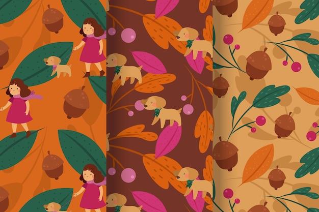 평면 디자인의 가을 패턴 컬렉션 무료 벡터
