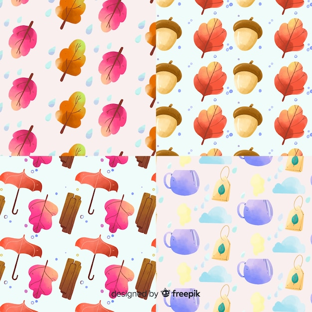 Autumn pattern collection watercolor style Free Vector