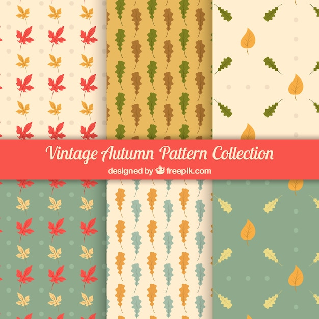 Autumn pattern collection with retro style