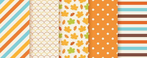 Autumn pattern. . seamless print with fall leaves, polka dot, stripes and fish scale. seasonal geometric textures. colorful cartoon illustration. cute abstract backgrounds. orange wallpaper. Premium Vector