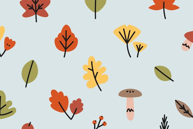 Autumn patterned background Free Vector