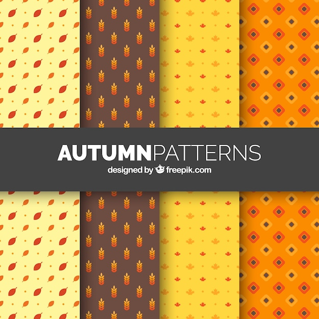Autumn patterns background Free Vector