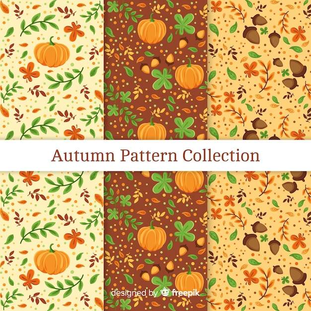 Autumn patterns collection with elements free vector Free Vector