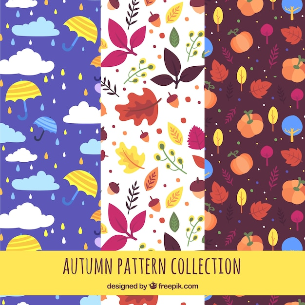 Autumn patterns collection with nature Free Vector