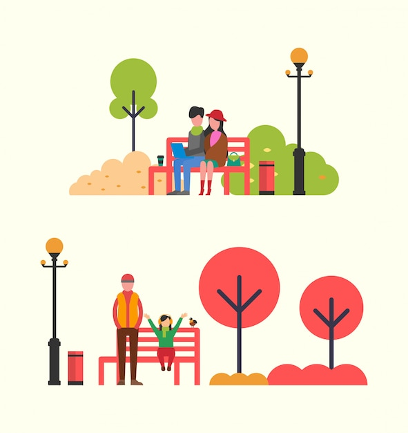 Autumn people spending time on red bench Premium Vector
