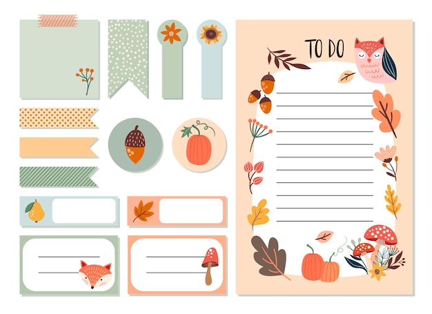 秋のプランナーステッカーセットとto doリスト、かわいい季節の要素、手描きデザイン Premiumベクター