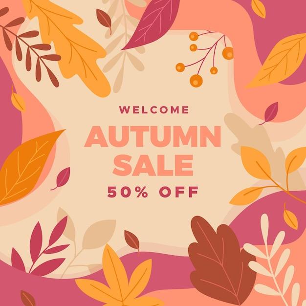 Autumn promotional sale concept Free Vector